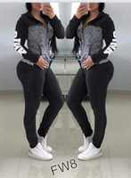 Wholesale black hoodie leopard sleeves online – oversize Brand Women Letters Printing Tracksuits Girls Long Sleeve Zipper Two Piece Sets Hoodies Leggings Casual Sportswear Jogger Suits CRZT4101