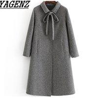 шерстяные пальто высокого качества оптовых-2019 Winter Women Plaid Double-faced Cashmere Wool Jacket Slim Ladies Long Overcoat High quality Female Wool Coat  clothing