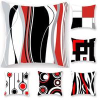 office decor color toptan satış-Kırmızı Geometrik çizgi Yastık Kılıfı Yastık Kılıfı Glamour Kare baskı Yastık Kılıfı Yastık Kapak Ev Ofis Kanepe Araba Dekor 9 Renk WX9-1250