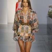 ingrosso modelli di donne d'epoca-2019 Brand New Women Plaid Pattern Stampa elegante abito Vintage Womens Lantern Sleeve Designer Runway Shirt Dress vestidos