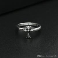 jóias fazendo cruzes venda por atacado-Alta qualidade 925 sterling silver jewelry vintage americano europeu hand-made designer cruza anéis de prata antiga banda presentes agradáveis
