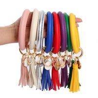 pulseiras chaveiro venda por atacado-Pulseira de couro Chaveiro PU Wrist Key Ring Tassel Pingente Pulseiras Esportes Chaveiro Pulseiras Rodada Anéis Jóias GGA2577