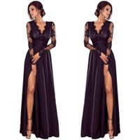 düğün akşam parti elbisesi toptan satış-Lady Derin Dantel Akşam Parti Balo Balo Düğün Uzun Elbise Length401 #