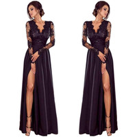 vestido de noche de encaje xl al por mayor-Vestido de fiesta de baile de fiesta de noche de Lady Deep Lace, vestido largo Length401 #