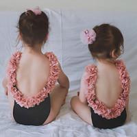 çocuklar mayo çiçek toptan satış-Anne Kızı Tek parça Mayolar Çocuk kız yaz Çiçek backless mayo toptan giysi