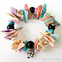Wholesale seaside bracelets resale online - Bracelet Bangles Beach Vocation Jewelry Natural Shell Bracelet Seaside Elastic Conch Souvenir Ocean Ornament Charm Bracelets