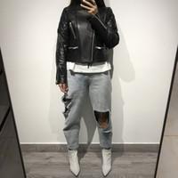 schwarze schaf-lederjacke großhandel-Damen schwarz echte Schafe Lederjacke Frauen echte Lederjacke