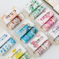 Wholesale stationery labels for sale - Group buy 5 Box Beautiful Flower Washi Tape DIY Decoration Scrapbooking Planner Masking Tape Adhesive Label Stickers Stationery