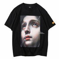 kleines mädchen sommert-shirt großhandel-Männer Harajuku T Shirt Lustige Kleine Mädchen Hip Hop T-Shirts Streetwear 2019 Sommer Kurzarm T-shirt Baumwolle Tops Tees Schwarz Weiß