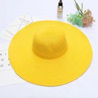 chapéus de palha planície flexível do verão venda por atacado-Chapéus de Palha do verão CA / EUA Personalizado Por Atacado Moda Simples Praia Dobrável Chapéu de Palha das mulheres de moda Floppy Hat ao ar livre sunhat