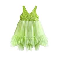 ingrosso pizzo verde di limone-Vestito di pizzo bambini vestiti della ragazza verde Bambini Pizzo Tulle Frocks principessa del bambino abiti del bambino di estate veste casual indossare in