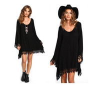 ingrosso abito nero boho-Summer Women Boho Tassel Dress Short Vestido Sexy in pizzo all'uncinetto in chiffon Tunica Hollow Black Beach Shirt Dress Blusa