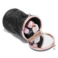 ingrosso mini specchi cosmetici-Makeup Bag Small portatile Specchio Retro Cosmetic Bag cuoio sveglio mini profumo di archiviazione portatile