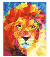 Wholesale building modern art painting resale online - DIY painting animal modern wall digital animal pre built lion art picture canvas acrylic paint for home decoration art