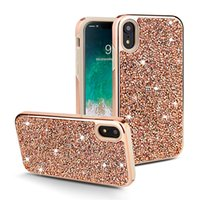 ingrosso bling lg-Custodia cellulare con strass Bling per Iphone XS MAX XR X 7 8 6 plus tpu pc glitter cover per Samsung S8 S9 S10 plus E lite nota 8 9 lusso