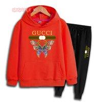 marca de suéter para niños al por mayor-GUCClButterfly Brand Luxury Designer Niños Chándal Sudaderas para niños Suéter para bebés Camisa pantalones 2 piezas Traje Niños Niños y niñas Trajes