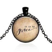 zacken halsketten großhandel-Neue Mode kreative Anhänger Halskette es ist von Grace inspiriert Halskette, Christian Schmuck, Bibel Vers Halskette Gnade Zitat Anhänger