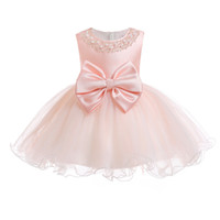 Wholesale princess clothing color matching resale online - Baby Dress Big Bow Princess Dress Cute Color Matching Mesh Photography Clothing Ball Gown Inside with Bustle
