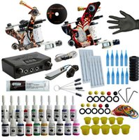 Wholesale starter tattoos resale online - Professional Tattoo Kit Tattoo Machine Kit Rotary Machine Guns Inks Set Power Supply Complete Tattoo Set For Starter Beginner