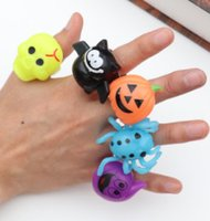 Wholesale beautiful small toys for sale - Group buy Halloween gifts gift dances party finger lights light emitting toys pumpkin skulls pumpkin bat rings small and beautiful