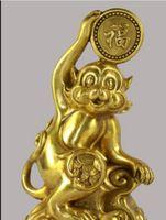 ingrosso porcellana fortunata statue-STATUA DI RAME 8 '' China Bronze Zodiac Monkey Hold Blessing Lucky Statue