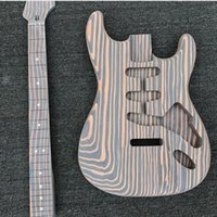 Wholesale finished guitar necks for sale - Group buy Zebrawood Electric Guitar Kit Unfinished Guitar Zebrawood body neck no finish painting DIY guitar Without guitar parts