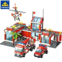 Wholesale fire block set for sale - Group buy 774pcs City Fire Fight Building Blocks Sets Fire Station Urban Truck Car Diy Bricks Playmobil Educational Toys For Children MX190730