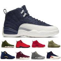 bayan rahat ayakkabılar toptan satış-Retro Michigan 12 Vachetta Tan 12 s Koleji Donanma erkekler rahat ayakkabılar boğalar UNC Grip Oyunu usta siyah beyaz taksi Spor sneakers Yeni