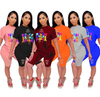 2020 Women Outfits Designers Short Sleeve Tee Top+Shorts Tracksuit Letter Print Ripped Holes 2 Piece Clothing Sets Sportswear S-5XL D52205LY