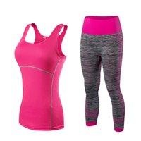 grüne sportkostüme großhandel-OLOEY Quick Dry Sportswear Gym Leggings + Sport T-Shirt Kostüm Fitness Strumpfhosen Sport Anzug Grün Top Yoga Set Trainingsanzug # 20408