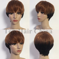 Wholesale sexy human hair wigs for sale - Group buy Top hair China Sexy Pixie Cut Brown Black Natural Wigs Short Straight Similar Human Hair Wigs For Black Women Full Wigs Fashion Cool