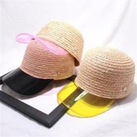 ingrosso cappello di plastica giallo-Berretto da baseball femminile Summer Anti Sunburn Cappello di paglia Bordo in plastica trasparente Anatra Tongue Copricapo Moda giallo nero 22hk C1