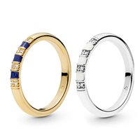 herren sterling silber stein ringe großhandel-2019 NEUE ankunft 18 Karat Gelbgold Frauen Herren RING Original Box für Pandora 925 Sterling Silber Exotische Steine Stripees Ring