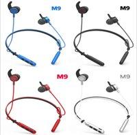 hacimsel ambalajlama toptan satış-M9 bluetooth kulaklık stereo kablosuz spor koşu kulaklık mic handsfree ses kontrolü ile iphone samsung xiaomi için perakende ambalaj ile