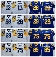 maillots de football bleus achat en gros de-NCAA Football 29 Eric Dickerson 13 Kurt Warner 28 Marshall Faulk Jersey 85 Jack Youngblood 75 Deacon Jones Bleu Blanc Mans Vintage