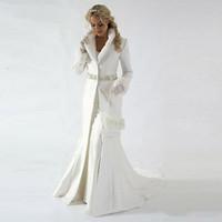 ingrosso tessuti di champagne-Tessuto raso 2020 Inverno nuziale Mantello Giacca moderna maniche lunghe Cappotto di pelliccia da sposa Carino Scialle cappotto con pelliccia sintetica paillettes in rilievo