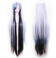 perruque harajuku noire achat en gros de-Perruque 1029 +++ Harajuku Anime perruque Cosplay longue ligne droite Résistant synthétique perruques Noir Blanc Bleu