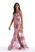 giysi döşeme toptan satış-Bayan Yaz Payetli Bölünmüş Elbiseler V Boyun Seksi Kat Uzunluk Moda Kadın Giyim Gece Kulübü Bohem Stili Giyim