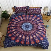 красный комплект одеяла оптовых-Домашний текстиль пододеяльник комплект Twin Queen king Size богемный индийский стиль комплект постельных принадлежностей красный с наволочкой одеяло обложка комплект