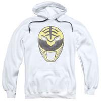 hoodie branco da guarda florestal venda por atacado-Mighty Morphin Power Rangers BRANCO RANGER MÁSCARA Adulto Camisola Com Capuz