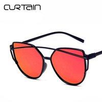 cortinas sexy venda por atacado-CORTINA 2019 New Sexy Ladies Cat Eye Óculos De Sol Das Mulheres Moda Óculos Claros Óculos de Sol Óculos de Armação Para Feminino UV400
