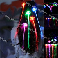 Discount halloween shoelaces Novelty Lighting LED Hair Extension Flash Braid Girl Glow By Fiber Optic For Party Christmas Halloween Night Lights Decoration EPACKET