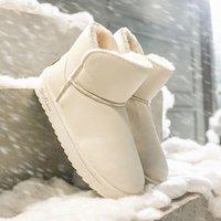 botas de inverno brancas de pelúcia venda por atacado-Mulher botas de inverno neve Botas Plataforma Moda de borracha Plush Keep Warm Black White Ladies Sapatos de couro tornozelo mulheres 2019