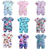 koreanische overalls großhandel-19 farben babyspielanzug koreanische Kinder Designer Kleidung Mädchen sommer rundhals overall kurzarm overalls strampler onesies kleinkind bodysuit