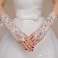Luxury Short Lace Bride Bridal Gloves Wedding Gloves Crystals Wedding Accessories Lace Gloves for Brides Fingerless Below Elbow Length