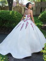 ingrosso dimensione bianca del vestito da partito 18-Pretty White Lace Sweetheart Applique Perline Quinceanera Abiti Occasioni speciali Abiti da festa Danza Prom Dresses Formato personalizzato 2-18 KF101380