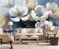 pintura a óleo para a decoração do quarto venda por atacado-foto beibehang personalizado papéis de parede mural de pintura a óleo 3d casa decoração floral do fundo da parede sala de estar quarto 3d papel de parede