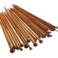 einzelne nadeln großhandel-36pcs 18 Größe Carbonize Bamboo Single Pointed Häkelnadeln
