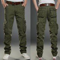 büyük erkekler kargo pantolon toptan satış-2019 Yeni Erkekler Kargo Pantolon ordu yeşil büyük cepler dekorasyon mens Rahat pantolon kolay yıkama erkek sonbahar ordu pantolon artı boyutu 40