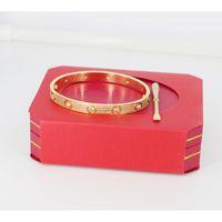 bijoux de diamant achat en gros de-Titane en acier Hommes et femmes Love bracelets à vis avec plein bracelet en or rose avec diamant CZ diamant avec bracelet tournevis Bracelet pour amoureux bijoux